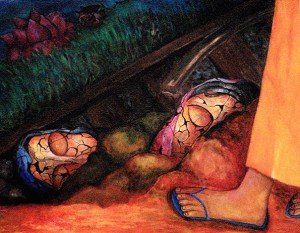 Religious icons and railway track painting by Li Li Tan