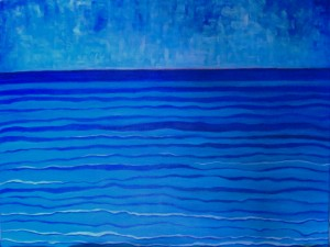 Abstract sea and sky painting by Li Li Tan, artist