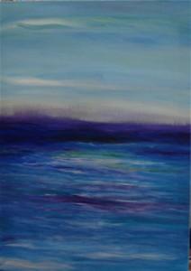 Abstract acrylic painting in blue by Li Li Tan