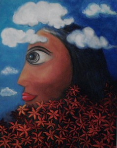 Woman's Head In Clouds Painting by Lili Tan, artist