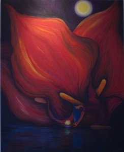 Giant red calla lilies and girl floating krathong painting by Tan Li Li