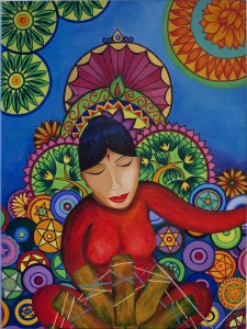Nepali lady At the spinning wheel (Painting by Li Li Tan, Gallery of Dreams and Colors)