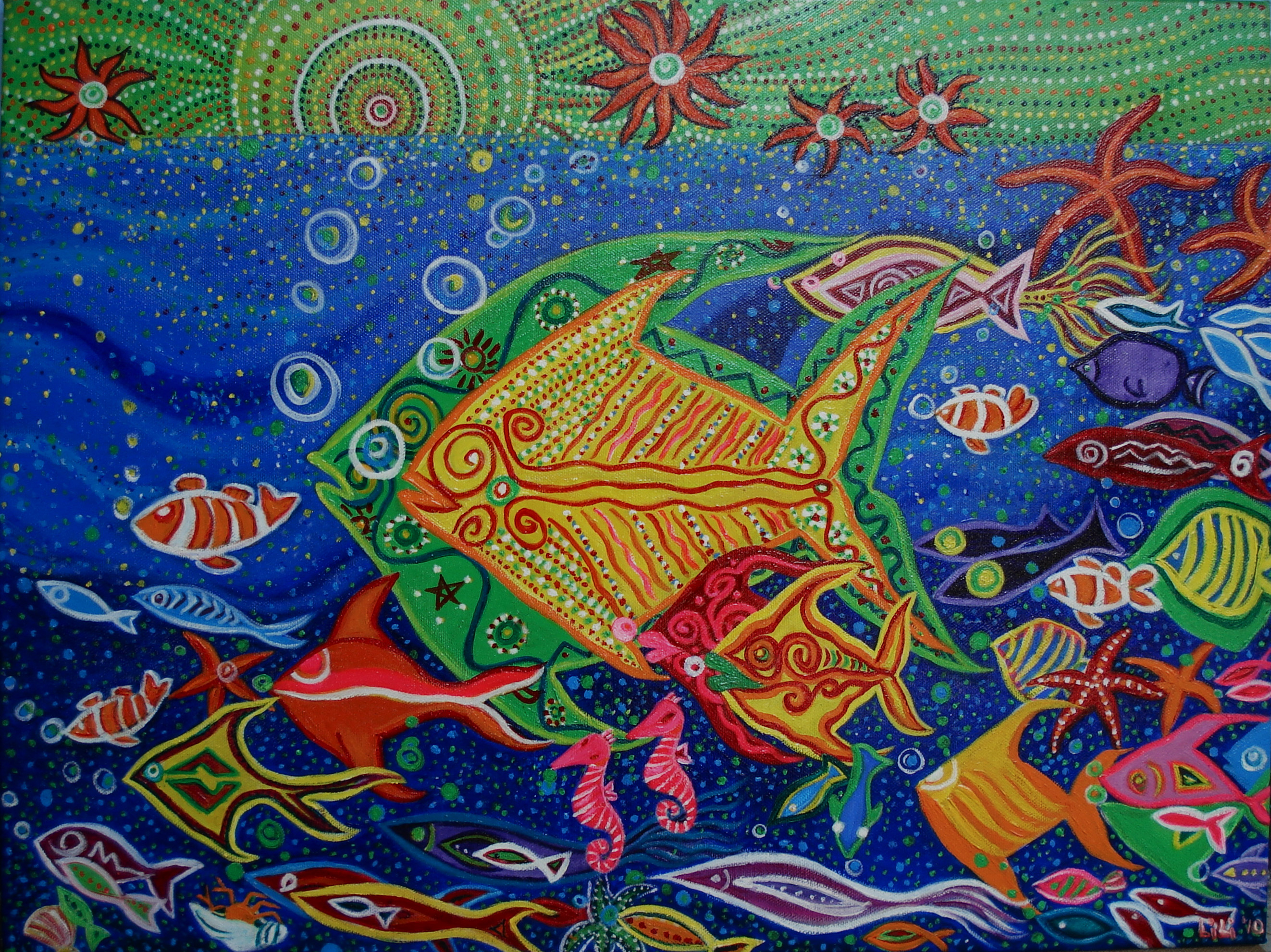 Colourful Fishes Swimming In The Sea - Acrylic Painting Singapore Artist Li Li Tan