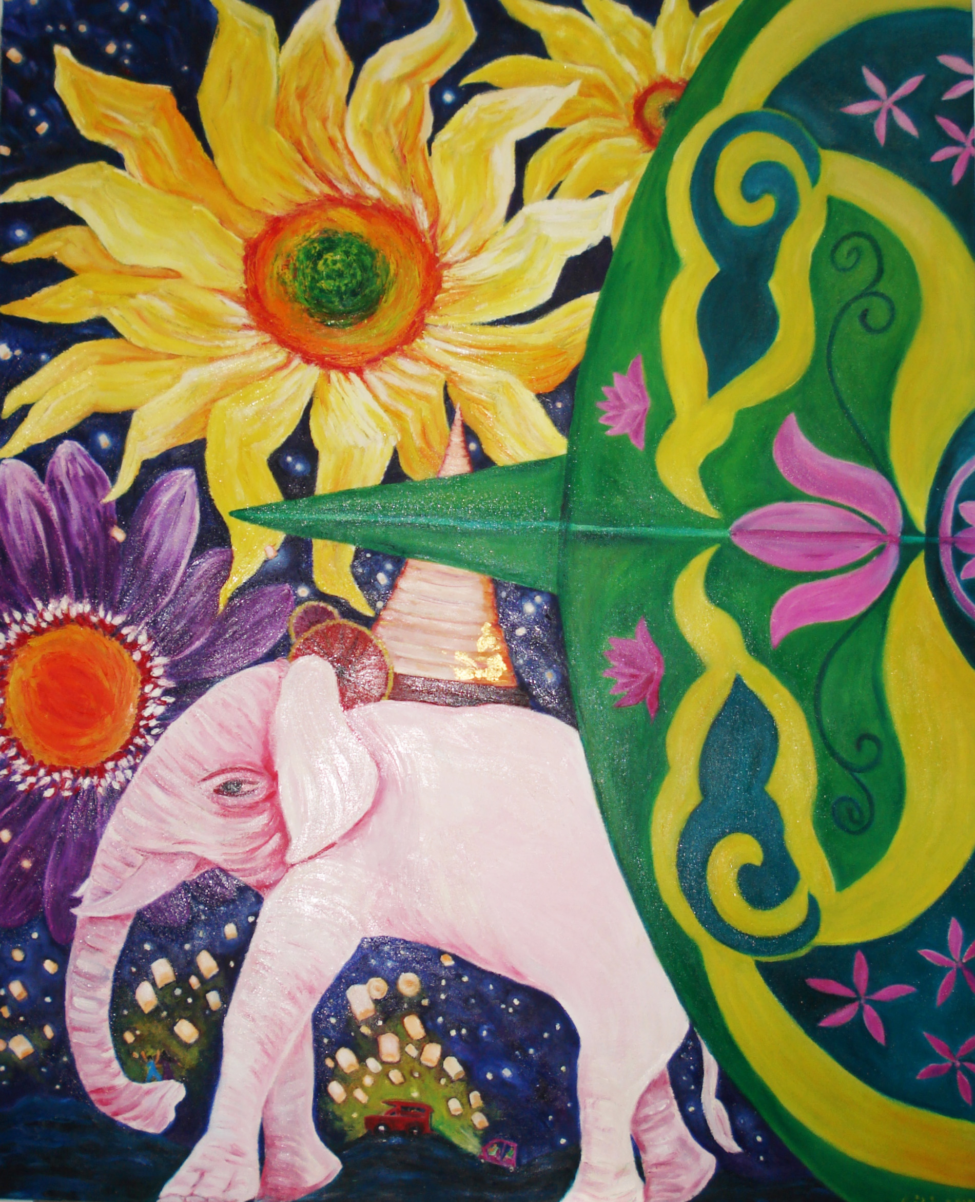 Flowers, Lanna kite, elephant of Chiang Mai