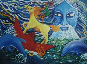 Horse on a boat at sea with dolphins - oil painting by Li Li Tan in Chiang Mai