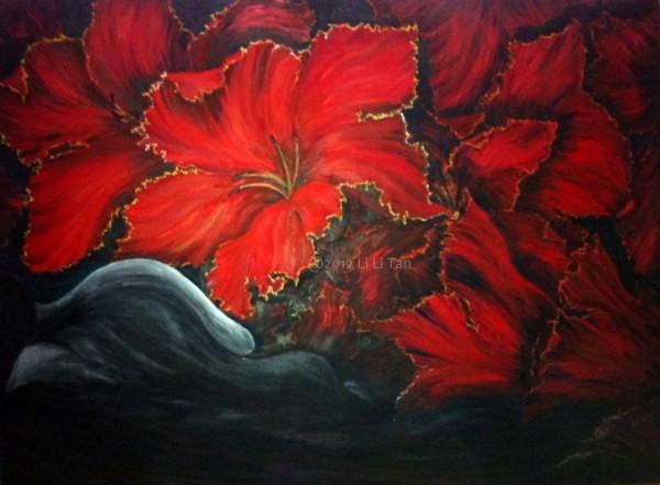 A Man Dreams. Blooms in the night by artist Li Li Tan