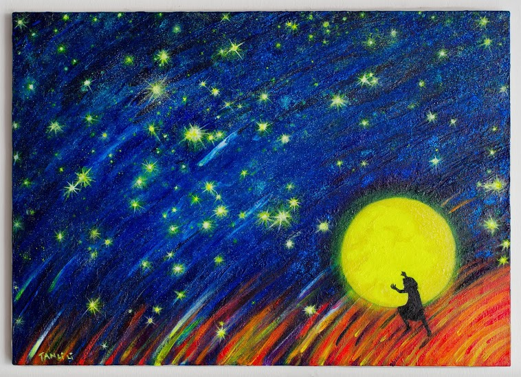 Acrylic painting by artist Li Li Tan capturing the music of the night skies