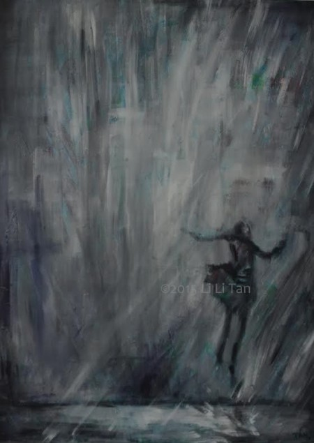 Girl dancing in the rain. Joy! Acrylic and spray paint by artist Li Li Tan (Tan Li Li)