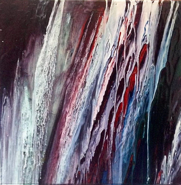 Waterfall. Abstract - enamel on canvas by artist Li Li Tan